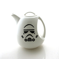 Star Wars (R) Teapot, Storm Trooper (R) Large teapot, 6 cups ceramic serving piece,modern upcycled futuristic design