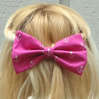 Pink and white anchor bow hair clip - big bow - bow barrette - nautical - retro - kawaii - feminine