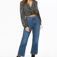 Striped Surplice Crop Top