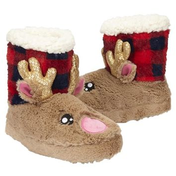 REINDEER BUFFALO CHECK SLIPPERS   GIRLS {CATEGORY} {PARENT_CATEGORY}   SHOP JUSTICE
