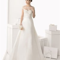 White A-line Sweetheart Strapless Satin 2014 Wedding Dress IWG0054 -Shop offer 2013 wedding dresses,prom dresses,party dresses for girls on sale. #Category#