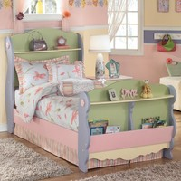 Doll House Twin Sleigh Bed with 2 Shelves and Magazine Rack by Signature Design by Ashley at Suburban Furniture