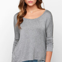 LULUS Exclusive Make Your Move Grey Long Sleeve Top