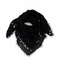 Sequin Scarf, Cotton Scarf, Lightweight Soft Black Scarf Beaded Crochet Scarf Lace, Handmade