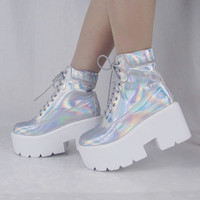 holographic iridescent hologram boots