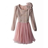 Pink Lace High Waist Double-Breasted Dress Wool Blend Women Coat @XYZ9805p
