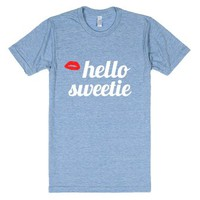 hello sweetie-Unisex Athletic Blue T-Shirt