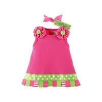 Mud Pie-Little Sprout Ribbon Tab Dress,  Green-Pink