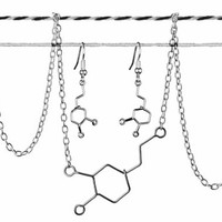 Dopamine Molecule Gift Set - Matching Chemistry Jewelry - Bracelet or Necklace and Earrings