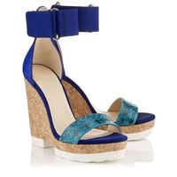 Turquoise and Violet Gloss Elaphe, Vachetta Leather and Grosgrain Cork Wedges | Neston | Cruise 15 | JIMMY CHOO Shoes