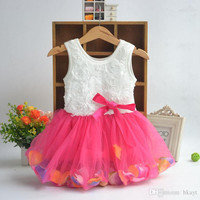 2015 Summer Kids Baby Child Girl Sleeveless Princess Bow Colorful Flower Petal Pearl Tutu Dress Girls Flower Dress.