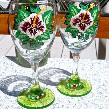 Hand Painted Wine Glasses With Green Bases And Wine Charms, Ready To Personalize Glasses