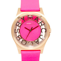 Marc By Marc Jacobs Henry Skeleton Pink Leather Strap Watch