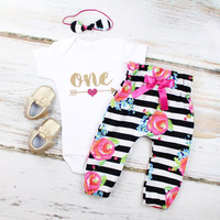 Baby Girls 1st Birthday Outfit | Black and White Striped w/ Fuchsia Floral High Waisted Pants w/ Gold One and Pink Heart Arrow