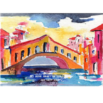 ACEO Painting Rialto Bridge Venice Italy by Ginette Callaway  Watercolor and Ink