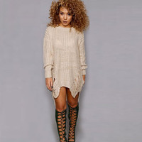 American Style Pull Femme 2016 Long Sleeve Casual Sweater Dress Irregular Knitted Sweater Women Pullovers Dresses Ripped Sweater