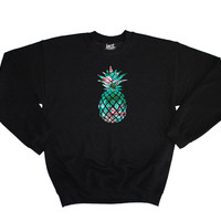Flamingo Pineapple Black Sweater