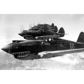 Flying Tigers 1942 Aircraft poster Metal Sign Wall Art 8in x 12in Black and White