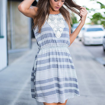Have It Your Crochet Dress, Gray
