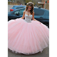 Light Pink Quinceanera Dress 2017 Tulle Floor Length Puffy Ball Gown Quinceanera Dresses with Crystals Cheap