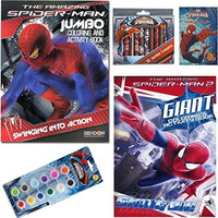 The Amazing Spider-man Movie Coloring and Activity Book Gift Set For Kids - 2 Coloring Books, 1 Pack of Crayons, 1 Set of Paints Plus Spiderman Stickers
