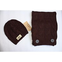 """UGG"" Trending Women Men Stylish Knit Hat Cap Scarf Two Piece Set Coffee"