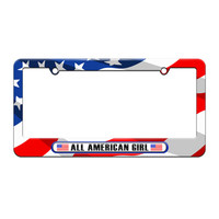 All American Girl - License Plate Tag Frame - American Flag Design