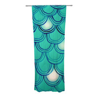 "Theresa Giolzetti ""Mermaid Tail"" Teal Blue Decorative Sheer Curtain"