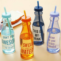 650ml Fashion Unbreakable Water Bottle Plastic Portable Sports Cup With Straw My Creative Bottle BPA Free