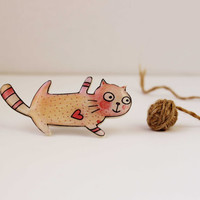 "Free shipping Brooch-animal brooch ""The cat in love"""