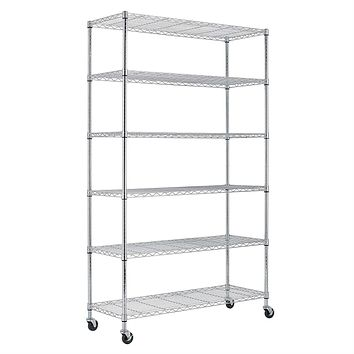 Heavy Duty 6-Shelf Metal Storage Rack Shelving Unit with Casters
