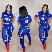Champion Fashionable Women Casual Print Shirt Top Tee Pants Trousers Set Two-Piece Sportswear Blue