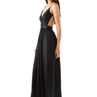 Black Pleated Cami Maxi Dress with Open Back