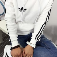 Tagre™ Adidas Women Embroidery Casual Plush Pocket Sports Top Sweater Hoodie
