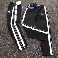 ''adidas'' Women Men flannelette Buttons Motion pants