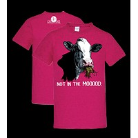 Southern Couture Not in the Mood Cow Front Print Girlie Bright T Shirt