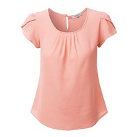 Chiffon Pleated Cap Sleeve Blouse Top (CLEARANCE)