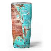 Bright Turquise Rusted Surface - Skin Decal Vinyl Wrap Kit compatible with the Yeti Rambler Cooler Tumbler Cups