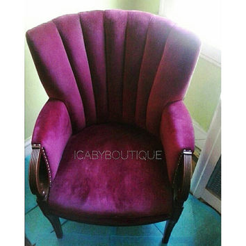 BEST OFFER SALE!! Vintage Red Velvet Channel-Back Wingback Chair