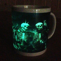 Glow in the Dark Halloween Skeletons Mug