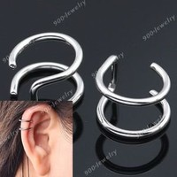 2pc Stainless Steel 2rings Ear Cuff Stud Unisex Punk Earring Body Piercing 16ga