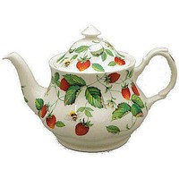 6C Alpine Strawberry English Bone China Teapot