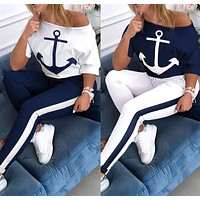 2020 new women's anchor print round neck top + trousers two-piece suit