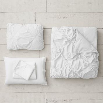Ruched Diamond Organic Duvet Set