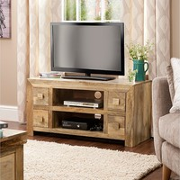 Light Goa 4 Drawer Entertainment Unit in Natural Mango | TV Units | George at ASDA