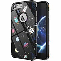 PBRO iPhone 6/6s Case, iPhone 7/8 Case, Cute Astronaut Case Dual Layer Soft Silicone & Hard Back Cover Heavy Duty PC+TPU Protective Anti-Scratch Shockproof Case for Apple iPhone 6/6S/7/8 Space/Black