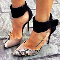 PU Stiletto Heel Pointed Toe  Ankle Band Strap High Heels