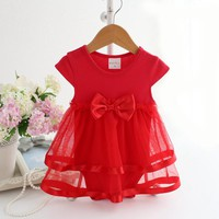 Baby Girls Red Tulle Bow Onesuit Dress