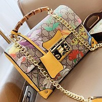 GUCCI New fashion floral more letter print leather shoulder bag crossbody bag handbag