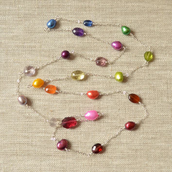 Long Rainbow Necklace, Sterling Silver, Real Gemstones and Freshwater Pearls, Bright, Colorful, Wire Wrapped Jewelry, Free Shipping